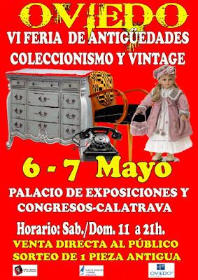 Cartel de la Feria de antigüedades en Oviedo, mayo 2017