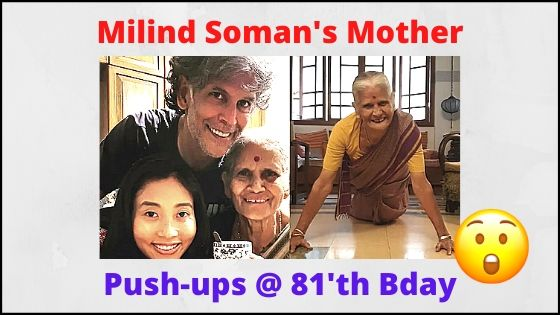 Milind Soman's 81 Year Old Mother Push Ups Workout Viral Video