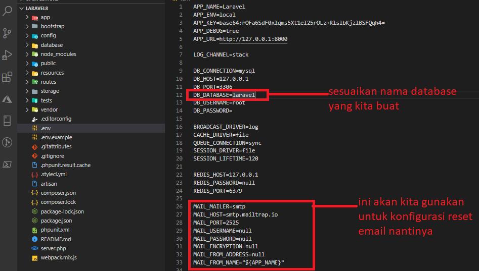 menyesuaikan database di .env sahretech