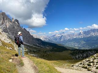 View from Forcella Ambrizzola toward Rifugio Caroda da Lago and Cortina d'Ampezzo in the distance.