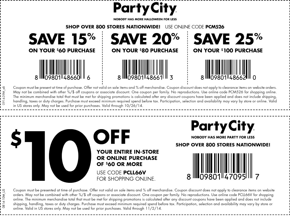 picture about Party City Coupons Printable identify Celebration town in just retail outlet printable discount codes 2018 / Berlin town