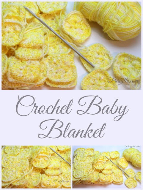 Crochet granny squares in lemon variegated yarn