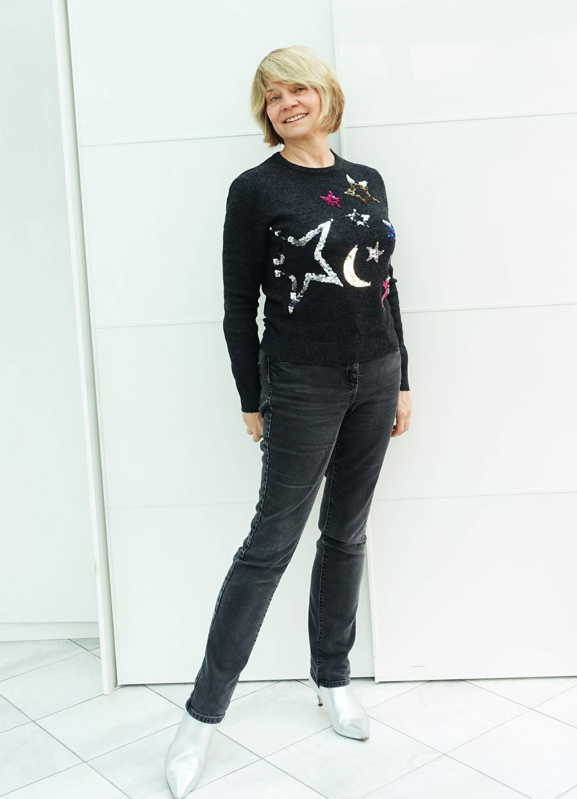 A sparkly star jumper and jeans rounding off the Christmas season for over-50s blogger Gail Hanlon from Is This Mutton?