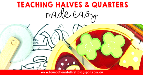 Teaching halves and quarters for early years maths students. Easy fractions lessons for primary school children.