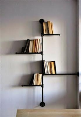 Desain Rak Buku Minimalis Dan Simpel Dari Bahan Pipa