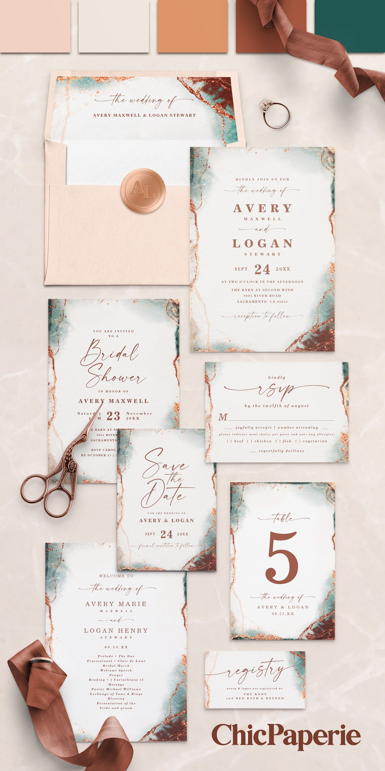 Abstract Watercolor Wedding Collection in Terracotta Rust Color Palette