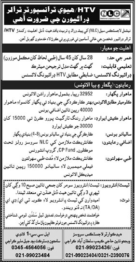 Latest Jobs 2021 In National Logistics Cell NLC for HTV Driver's Jobs 2021