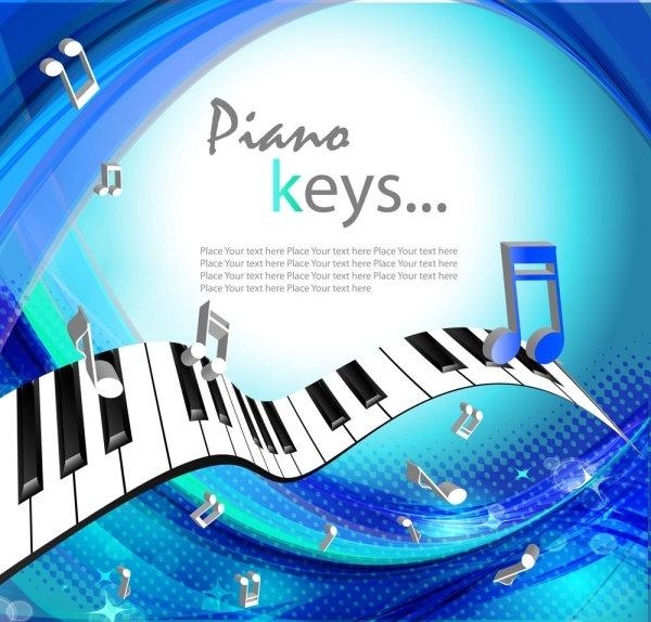 Beautiful background piano keys 01 vector Free vector