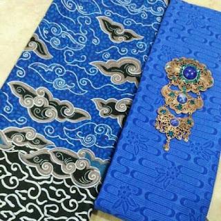 Kain Batik dan Embos 203 Pekalongan motif Mega Mendung Biru