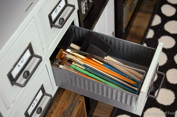 Turn metal card catalogs into the perfect vintage storage. via Littlehouseoffour.com