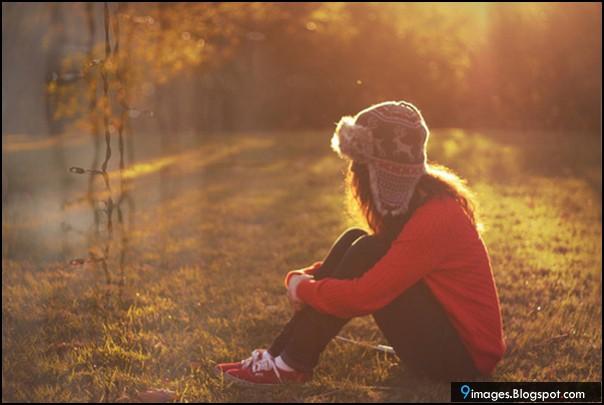 Sad Alone Girl Forest Sunset
