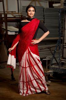 Keerthy Suresh Stunning In Red Bandhani Saree