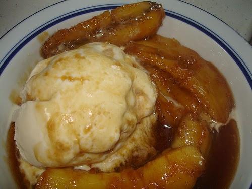 Brown Sugar Bananas over Vanilla Ice Cream