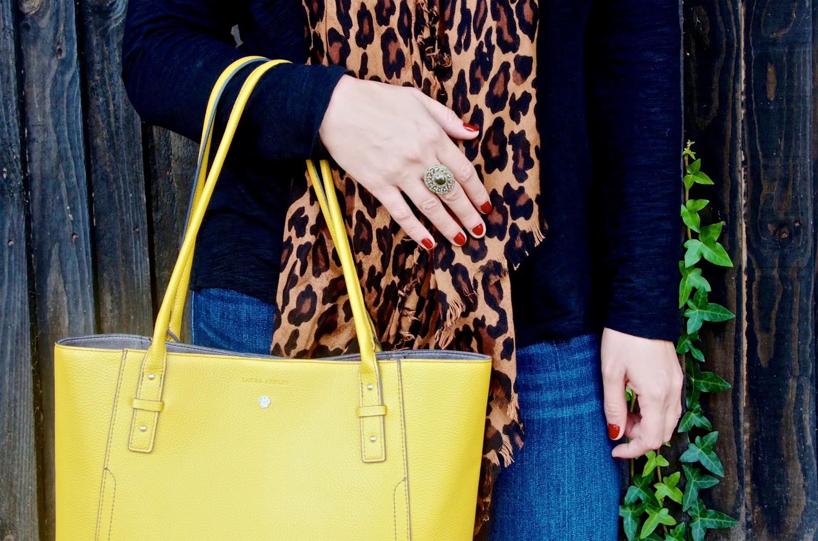 Yellow Leather Tote Bag, Leopard Print Scarf, Red Nail Polish and Black and gold crystal statement ring