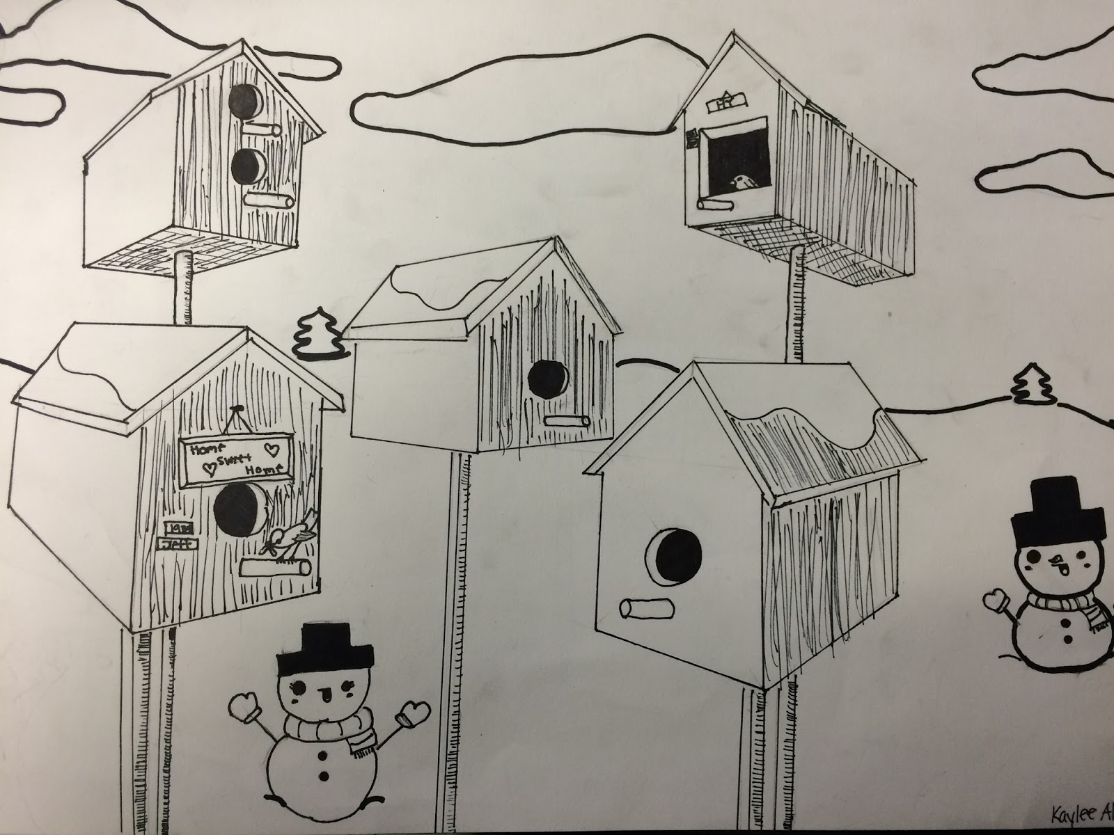 Mrs Wille S Art Room Bird Houses In 2 Point Perspective