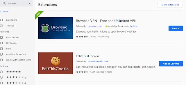 Add on merupakan VPN for PC menggunakan browser chrome