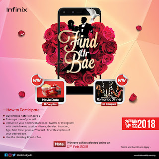 #Findurbae and win a romantic treat, special gift items when you purchase Infinix Note 4/Zero 5 this Valentine's