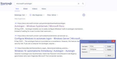 Startpage Suche und Autologin Fenster mit den drei Eingabefeldern