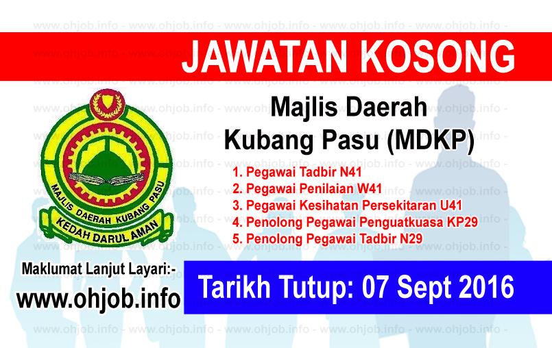 Jawatan Kerja Kosong Majlis Daerah Kubang Pasu (MDKP) logo www.ohjob.info september 2016