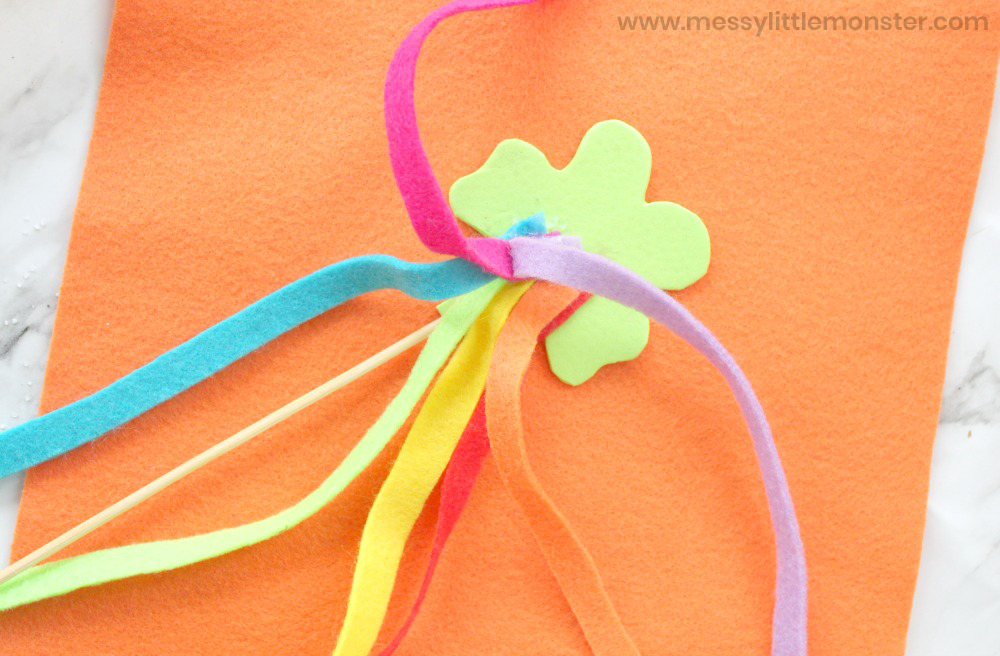 St Patricks Day shamrock wand craft for kids