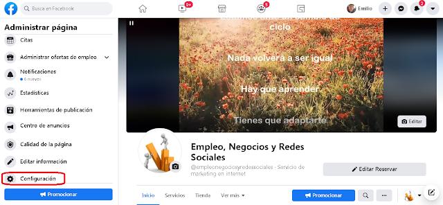 botón de configuración de las páginas de facebook