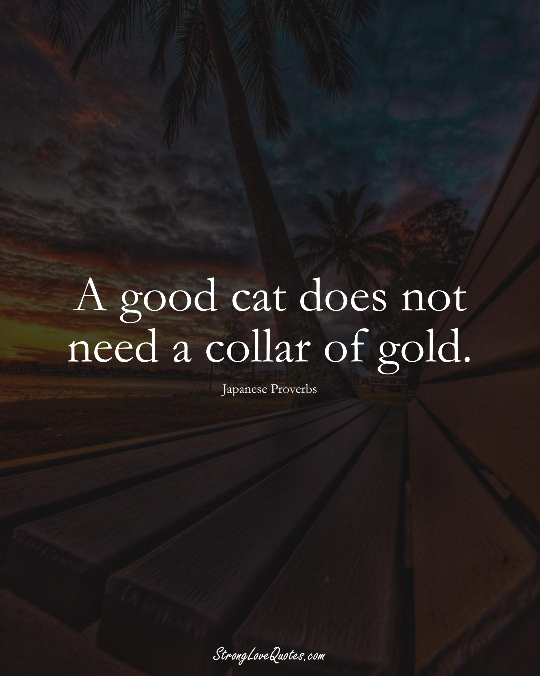 A good cat does not need a collar of gold. (Japanese Sayings);  #AsianSayings