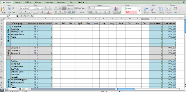 Easy to use Excel spreadsheet budget