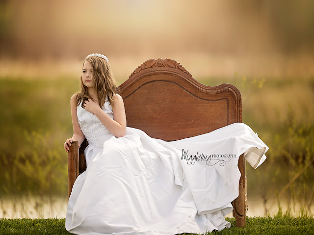 Little girl in wedding dress photo DeKalb Sycamore IL outdoor portrait of a child
