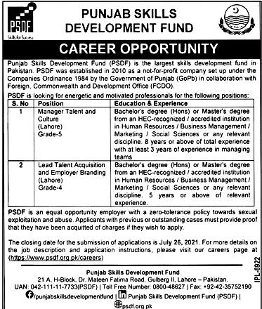 Latest Jobs in Punjab Skills Development Fund PSDF 2021-Apply online
