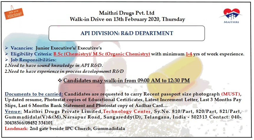Maithri Drugs Pvt. Ltd - Walk-In Drive for R&D -API on 13th Feb' 2020