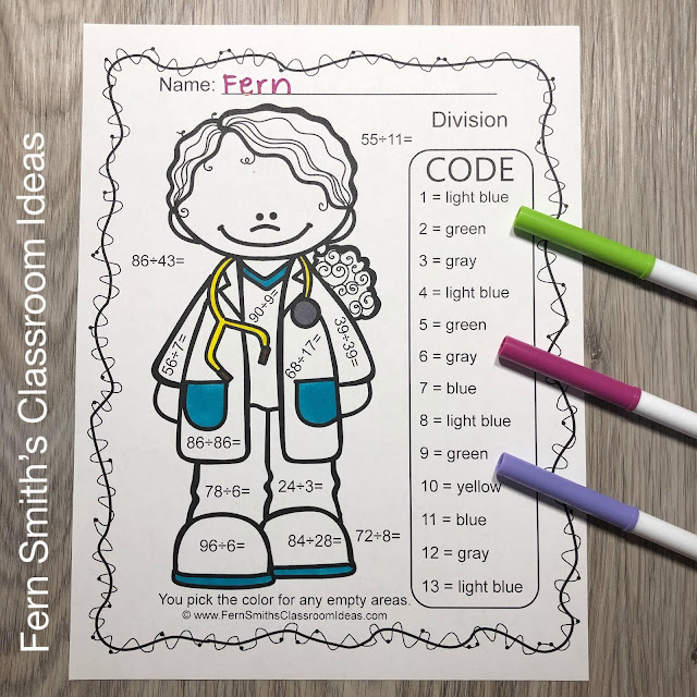 Click Here to Download This Community Helpers Career Themed Color By Number Divide 2-Digit Dividend by 1-Digit Divisors AND 2-Digit Divisors Printable Worksheets Resource Today for Your Class!