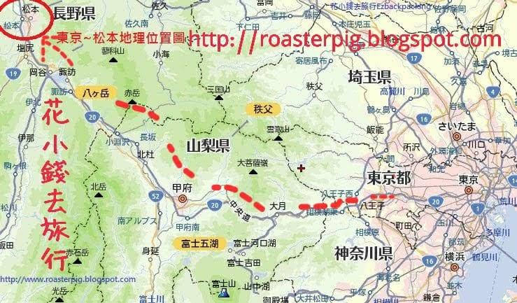 東京到松本路線圖