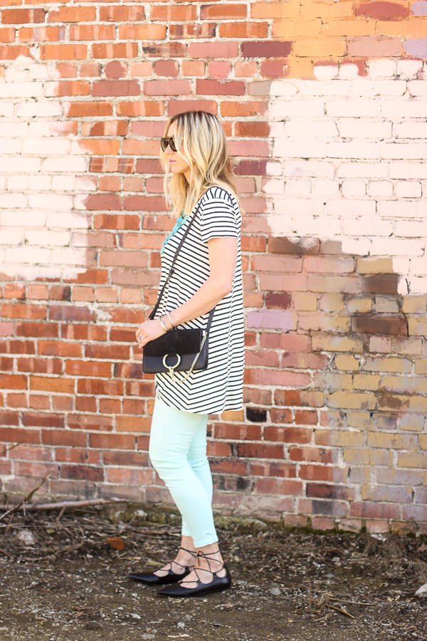black and white striped dress top parlor girl