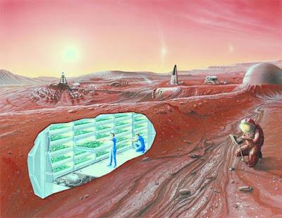 Impressione artistica di un insediamento su Marte con vista in sezione.