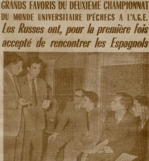 Equipo ruso del II Campeonato Mundial Universitario de Ajedrez Lyon 1955