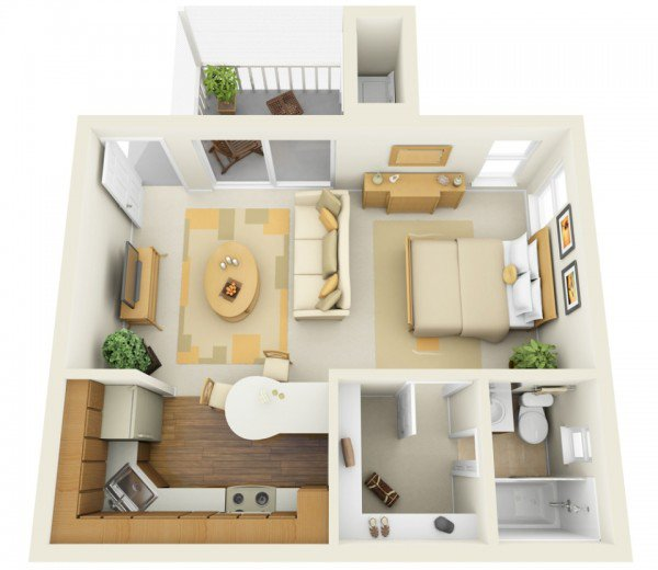 1 bedroom home plans