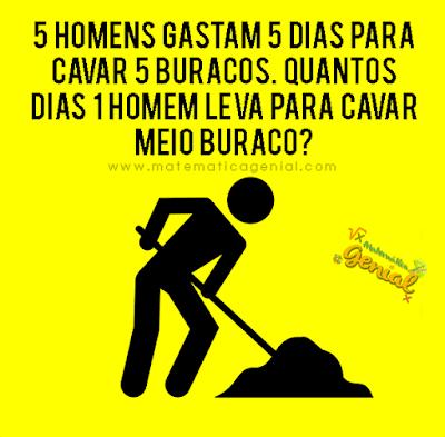 Desafio - 5 homens gastam 5 dias para cavar 5 buracos.