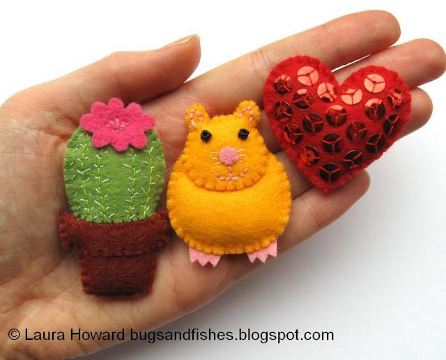 mini felt cactus hamster and heart tutorials