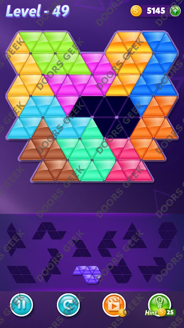 Block! Triangle Puzzle Challenger Level 49 Solution, Cheats, Walkthrough for Android, iPhone, iPad and iPod