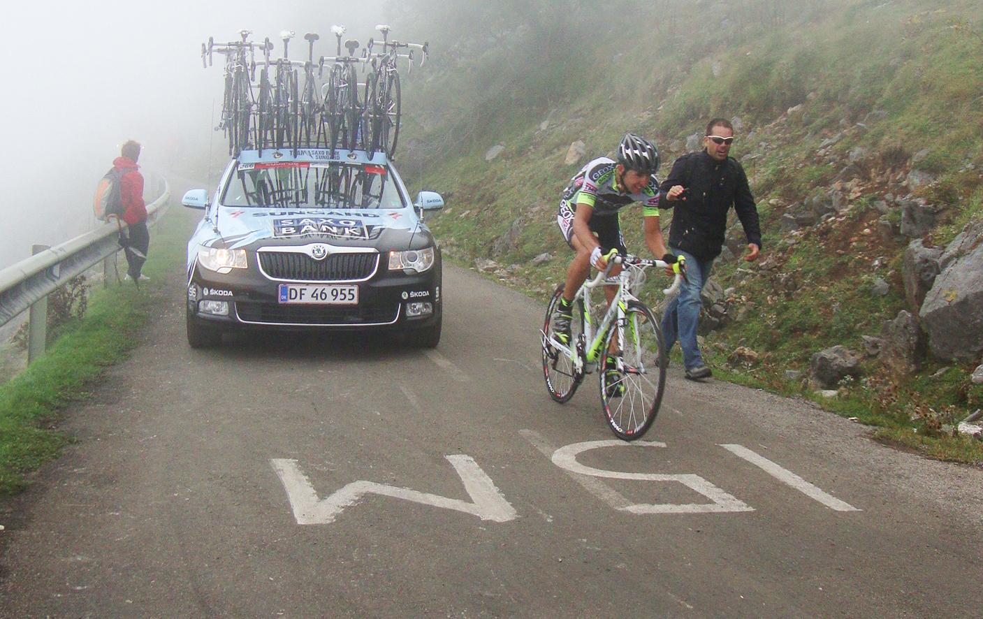 Spanish Cyclists - Carlos Sastre on the Angliru