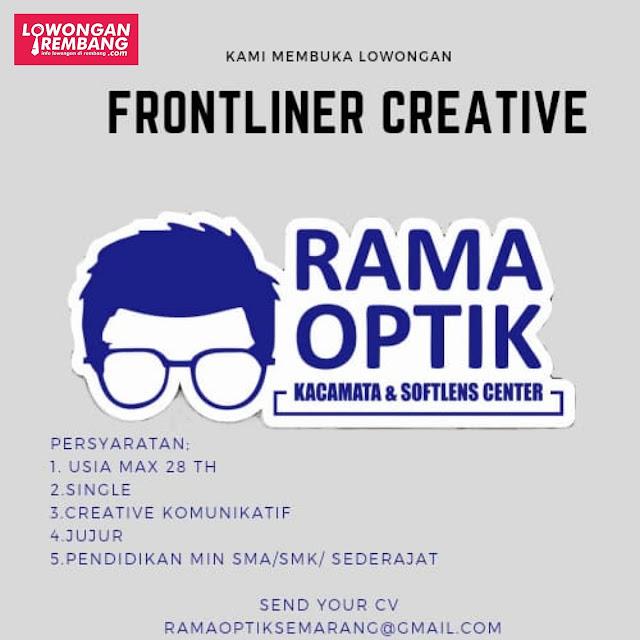 Lowongan Kerja Frontliner Creative Rama Optik Rembang