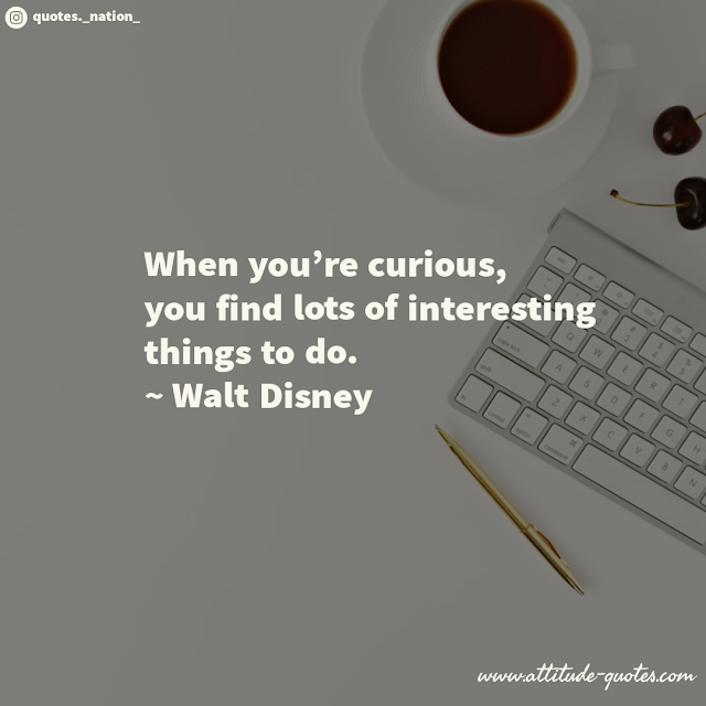 When you're curious, you find lots of interesting things to do.  ~ Walt Disney