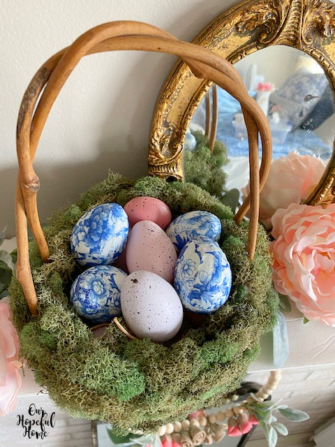 grapevine basket twisted handle Easter eggs mantel display