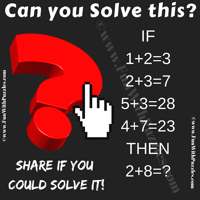 Can you solve this? If 1+2=3, 2+3=7, 5+3=28, 4+7=23 Then 2+8=?