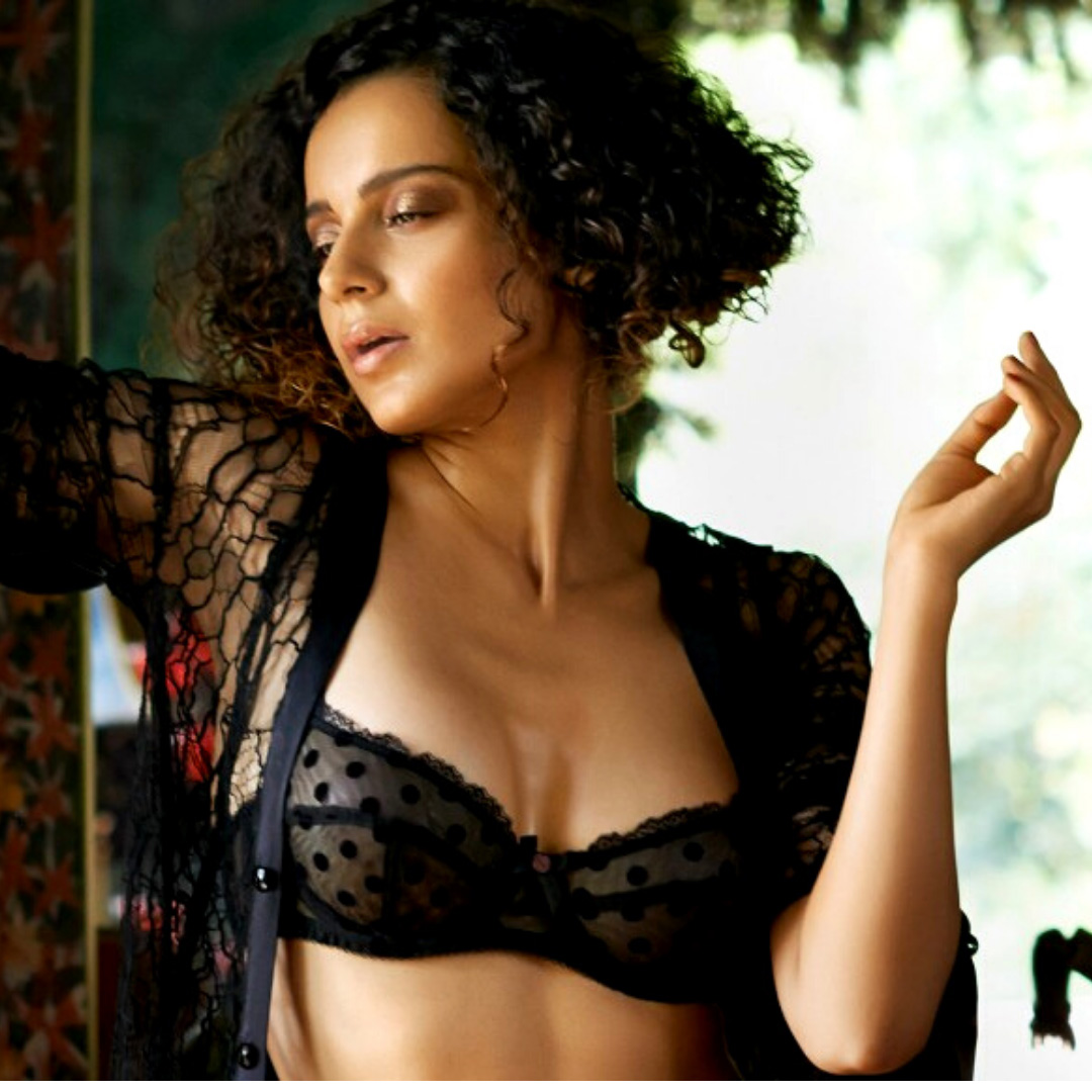 Kangana ranaut looks smoking hot in black lingerie bra