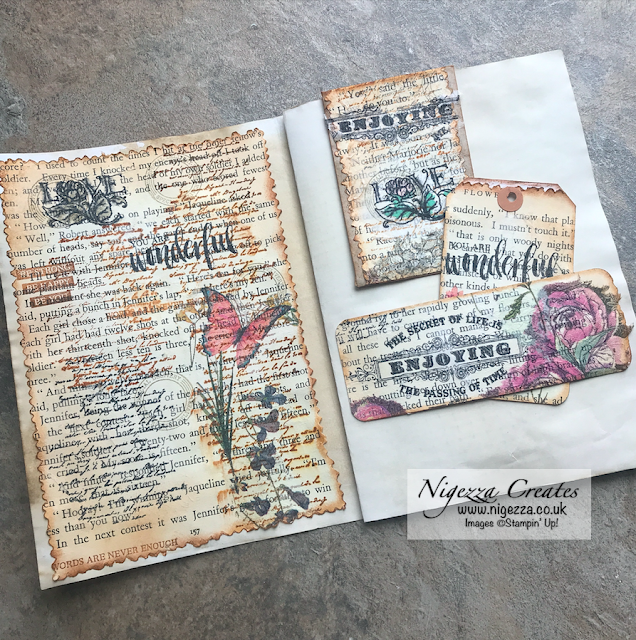 Using Stampin' Up! Stamps On Paper Napkins To Decorate Old Book Pages