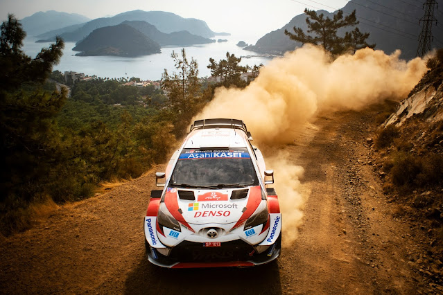 Elfyn evand winning rally turkey 2020 in his Toyota Yaris World Rally Car
