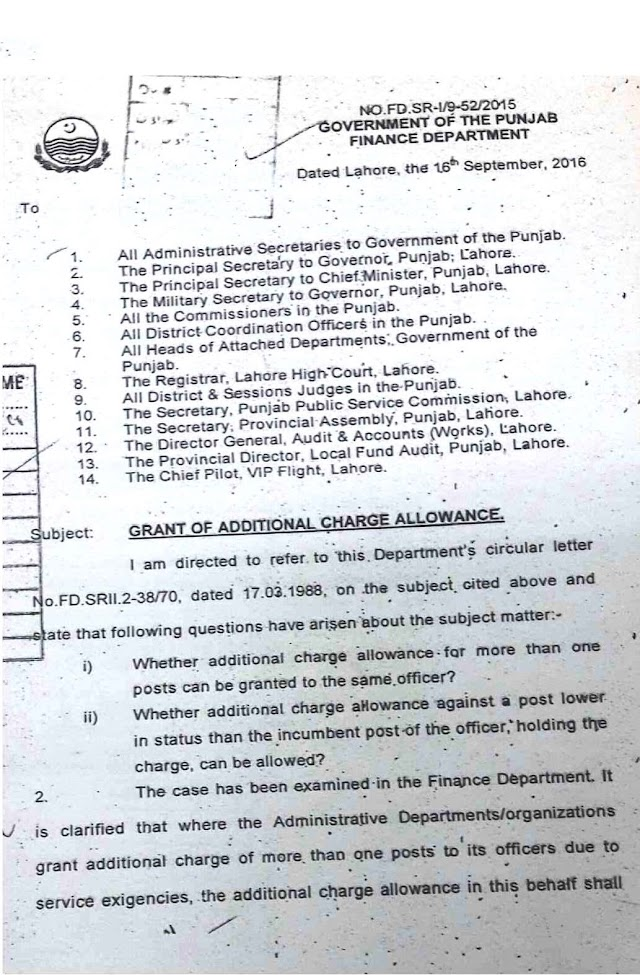 GRANT OF ADDITIONAL CHARGE ALLOWANCE