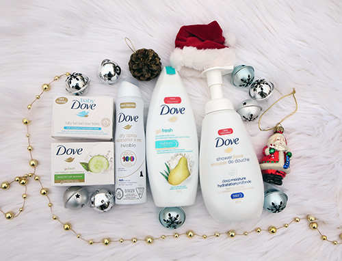Wishing for a DOVE Christmas ~ #Review #Giveaway #2017GiftGuide Deep Moisture shower foam (only) Cool Moisture Soap Bar Go Fresh Pear and Aloe Body Wash  Dry Deodorant Spray (Sheer Finish) Baby Dove Soap Bar