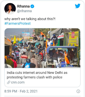 Rihanna tweet about farmers protest